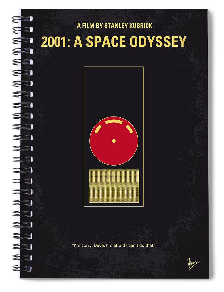 2001: A Space Odyssey Spiral Notebook featuring the digital art No003 My 2001 A space odyssey 2000 minimal movie poster by Chungkong Art