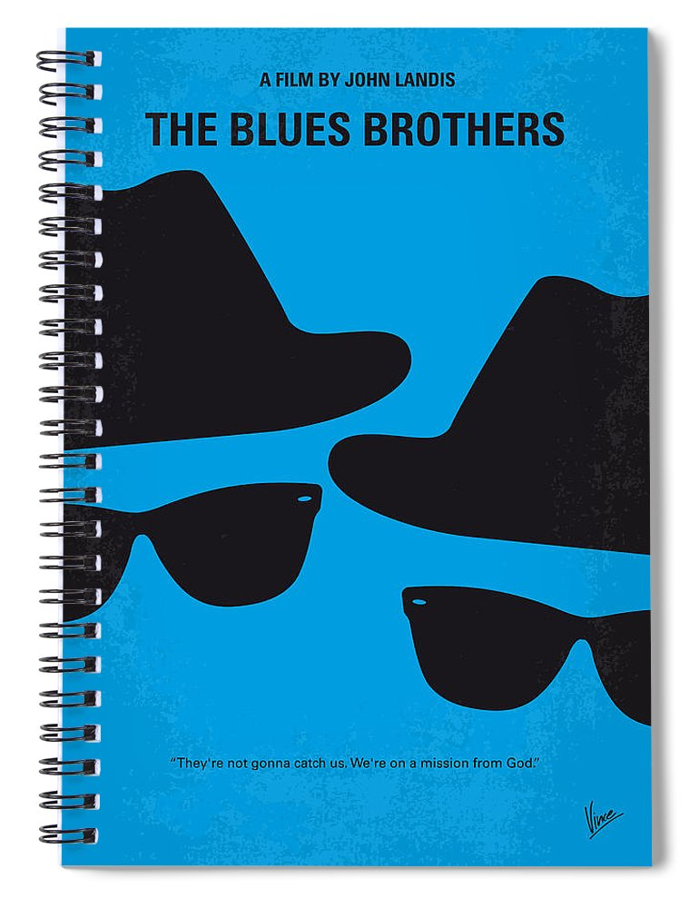 Blues Spiral Notebook featuring the digital art No012 My blues brother minimal movie poster by Chungkong Art