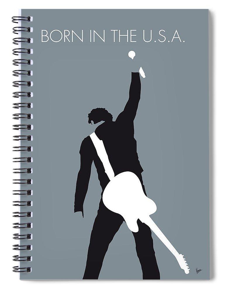 Bruce Spiral Notebook featuring the digital art No017 MY Bruce Springsteen Minimal Music poster by Chungkong Art