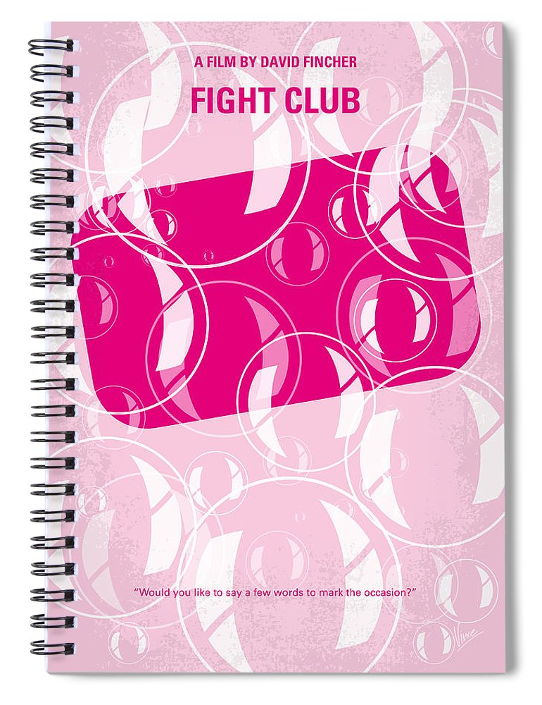 Fight Spiral Notebook featuring the digital art No027 My fight club minimal movie poster by Chungkong Art