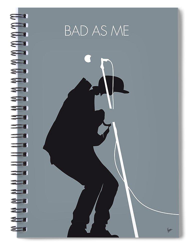 Tom Waits Spiral Notebook featuring the digital art No037 My Tom Waits Minimal Music Poster by Chungkong Art