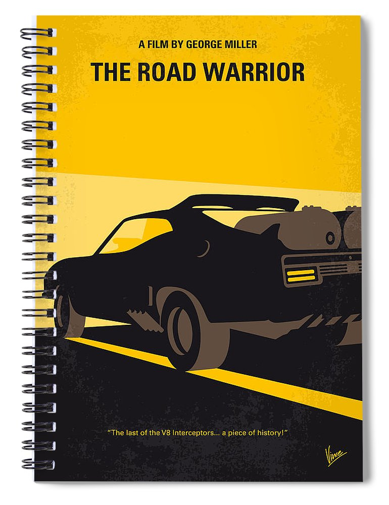 Road Warrior Spiral Notebook featuring the digital art No051 My Mad Max 2 Road Warrior Minimal Movie Poster by Chungkong Art