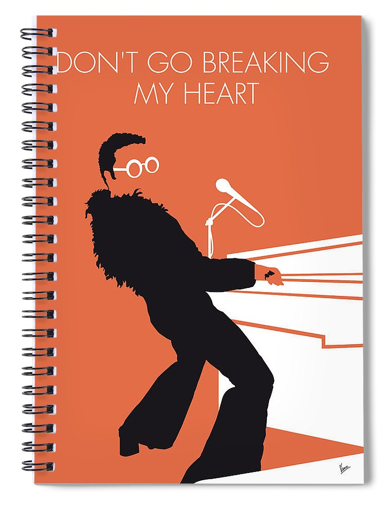 Elton Spiral Notebook featuring the digital art No053 My Elton John Minimal Music Poster by Chungkong Art