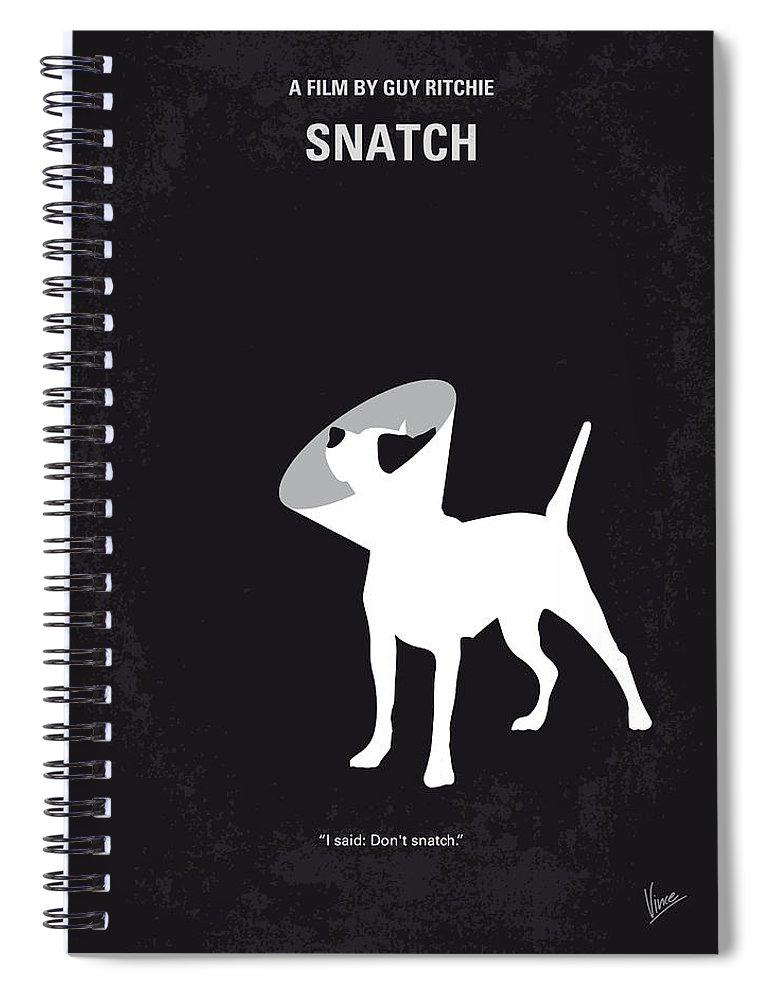 Snatch Spiral Notebook featuring the digital art No079 My Snatch minimal movie poster by Chungkong Art