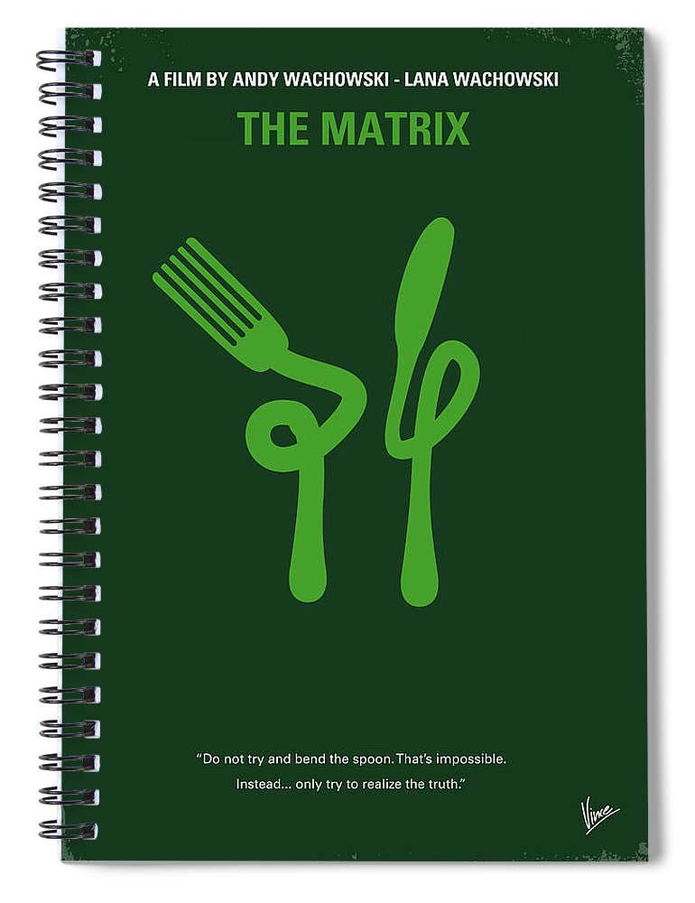 Matrix Spiral Notebook featuring the digital art No093 My The Matrix Minimal Movie Poster by Chungkong Art
