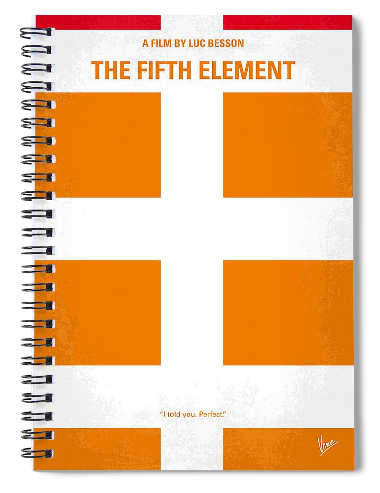 Fifth Spiral Notebook featuring the digital art No112 My Fifth Element Minimal Movie Poster by Chungkong Art