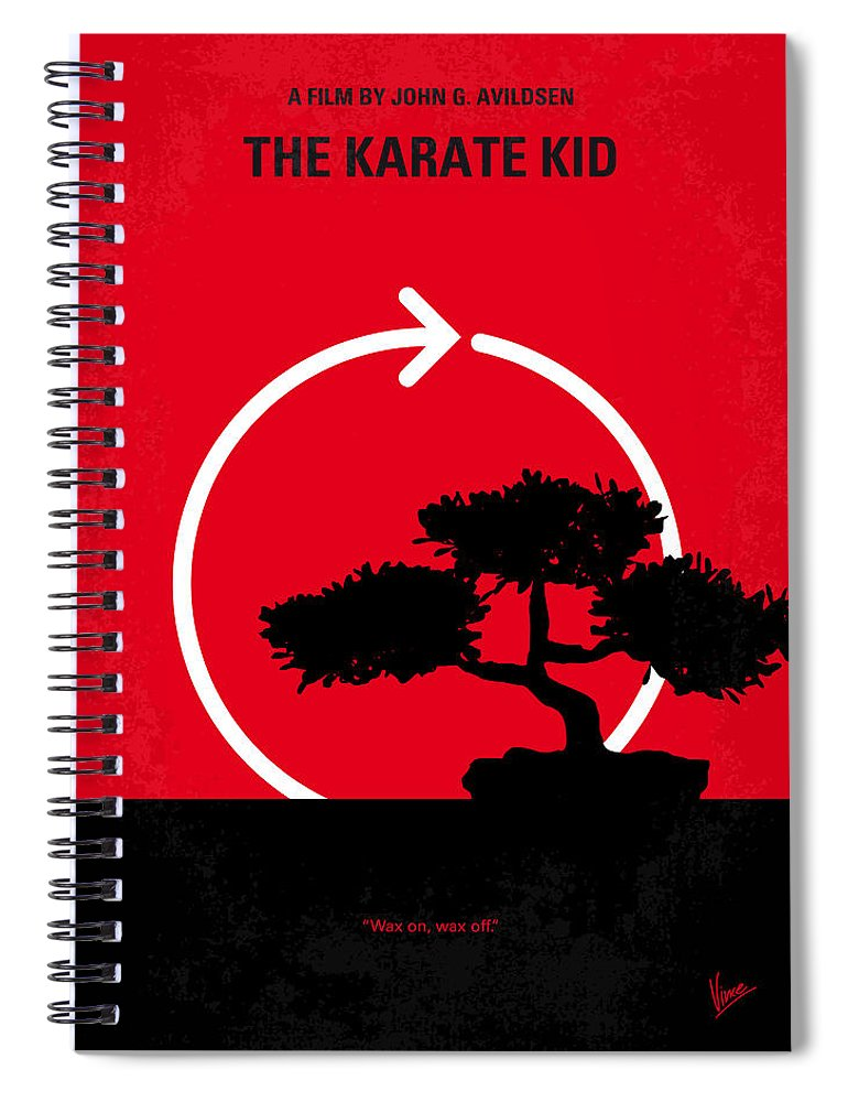 Karate Spiral Notebook featuring the digital art No125 My Karate Kid Minimal Movie Poster by Chungkong Art