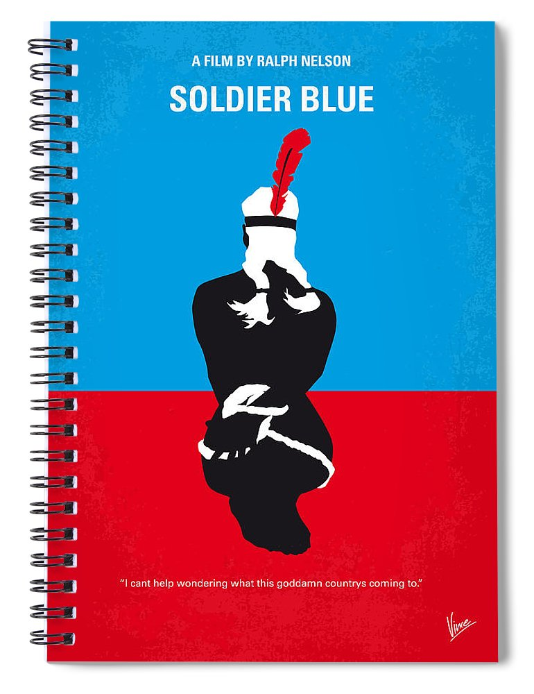 Soldier Spiral Notebook featuring the digital art No136 My Soldier Blue Minimal Movie Poster by Chungkong Art