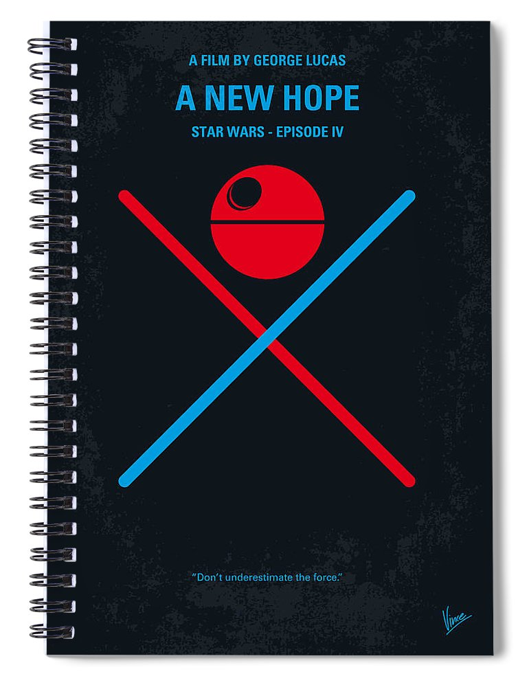 Star Spiral Notebook featuring the digital art No154 My STAR WARS Episode IV A New Hope minimal movie poster by Chungkong Art