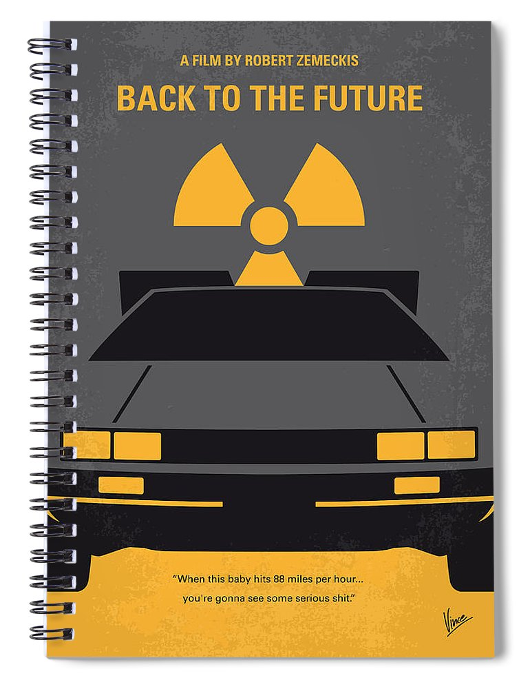 Back Spiral Notebook featuring the digital art No183 My Back To The Future Minimal Movie Poster by Chungkong Art