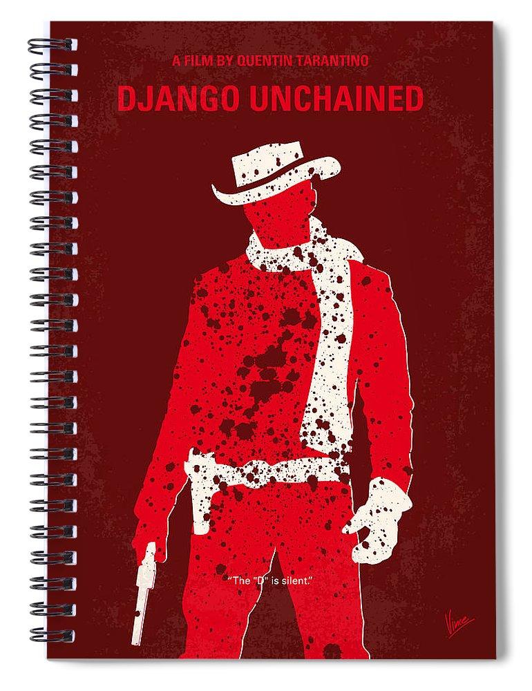 Django Spiral Notebook featuring the digital art No184 My Django Unchained Minimal Movie Poster by Chungkong Art