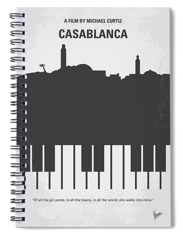 Casablanca Spiral Notebook featuring the digital art No192 My Casablanca minimal movie poster by Chungkong Art
