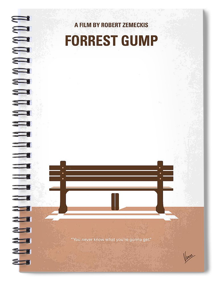 Forrest Spiral Notebook featuring the digital art No193 My Forrest Gump minimal movie poster by Chungkong Art