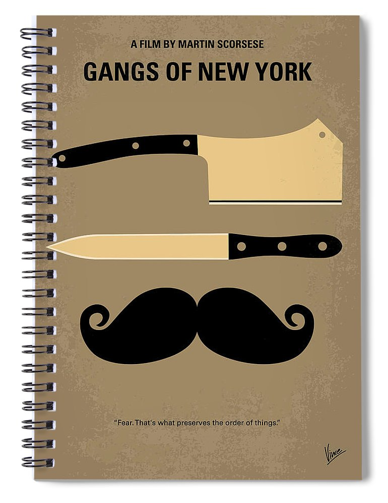 Gangs Spiral Notebook featuring the digital art No195 My Gangs Of New York Minimal Movie Poster by Chungkong Art