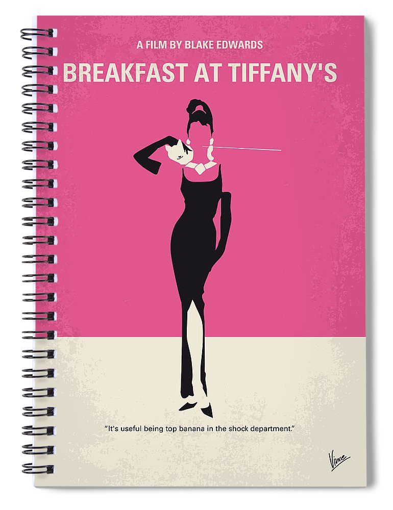 Breakfast Spiral Notebook featuring the digital art No204 My Breakfast At Tiffanys Minimal Movie Poster by Chungkong Art