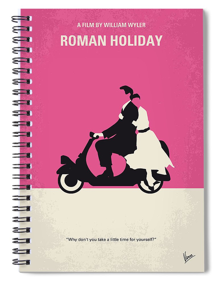 Roman Spiral Notebook featuring the digital art No205 My Roman Holiday minimal movie poster by Chungkong Art