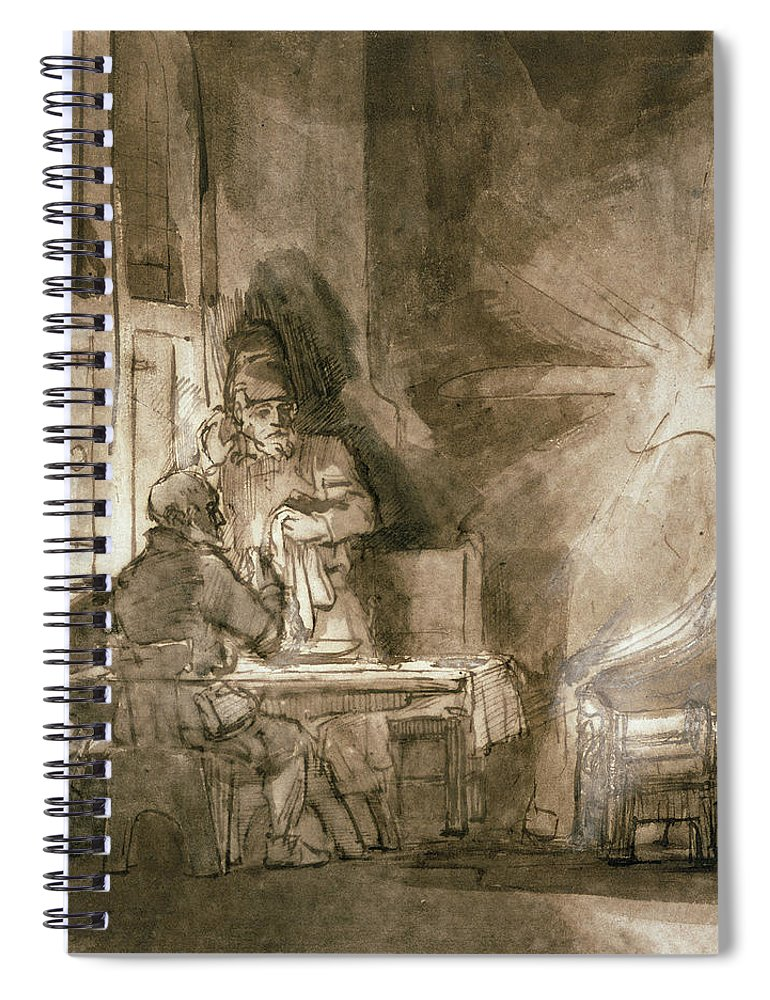 Interior Spiral Notebook featuring the drawing No.2139 Supper At Emmaus, C.1648-9 by Rembrandt Harmensz. van Rijn