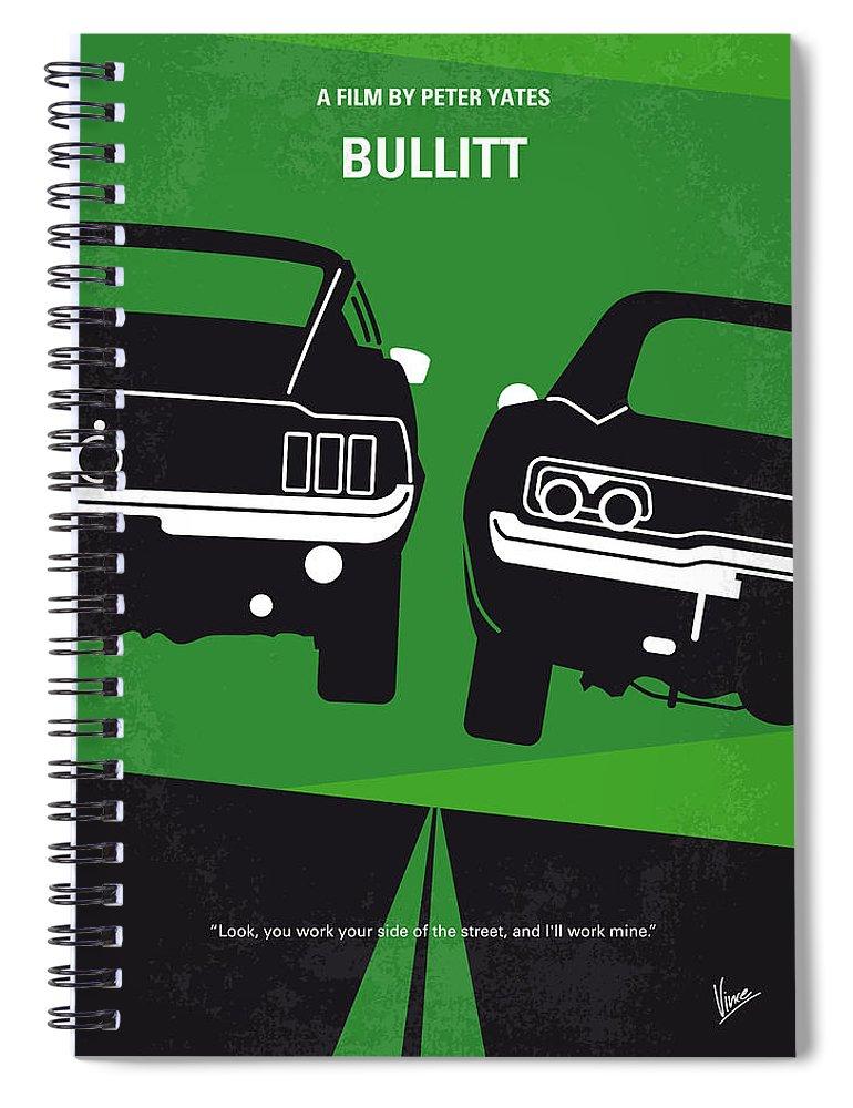 Frank Spiral Notebook featuring the digital art No214 My BULLITT minimal movie poster by Chungkong Art