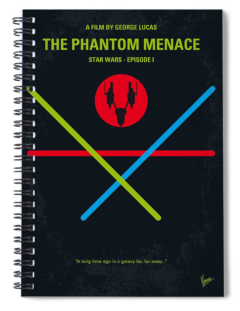 Star Spiral Notebook featuring the digital art No223 My Star Wars Episode I The Phantom Menace Minimal Movie Poster by Chungkong Art