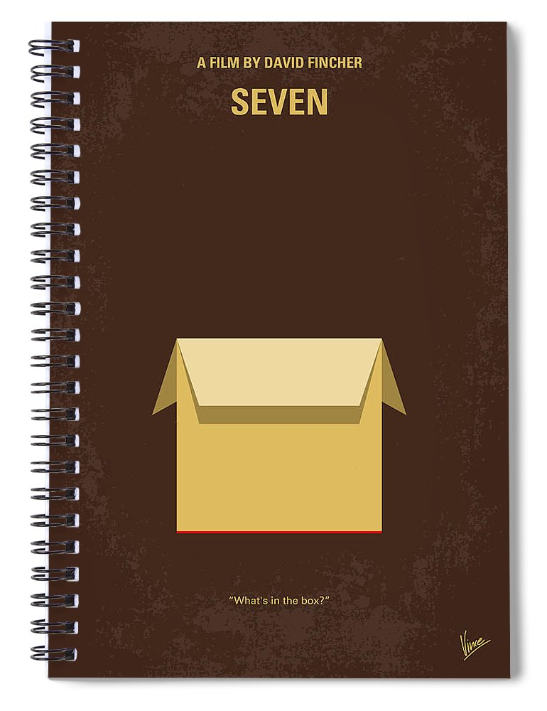 Seven Spiral Notebook featuring the digital art No233 My Seven Minimal Movie Poster by Chungkong Art