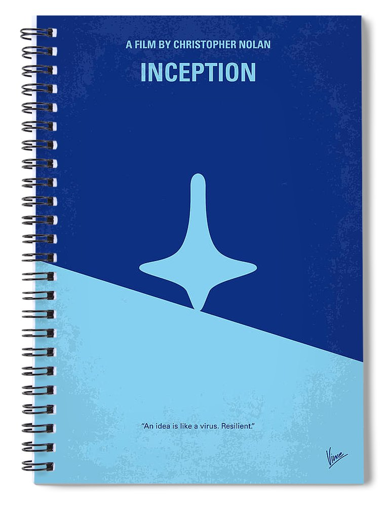 Inception Spiral Notebook featuring the digital art No240 My Inception minimal movie poster by Chungkong Art