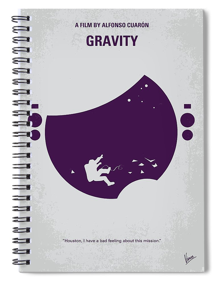 Gravity Spiral Notebook featuring the digital art No269 My Gravity Minimal Movie Poster by Chungkong Art