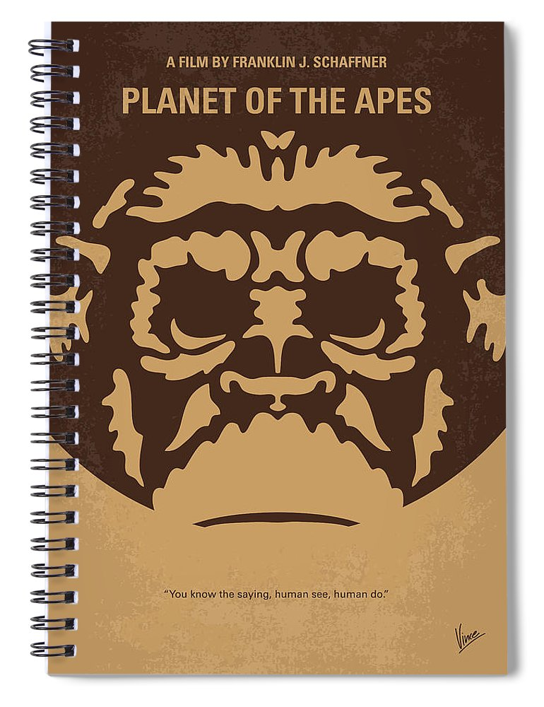 Planet Spiral Notebook featuring the digital art No270 My Planet Of The Apes Minimal Movie Poster by Chungkong Art