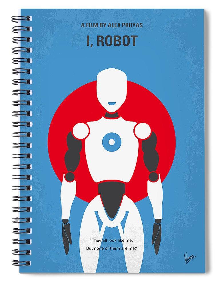 Robot Spiral Notebook featuring the digital art No275 My I Robot Minimal Movie Poster by Chungkong Art