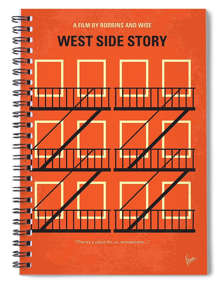 West Spiral Notebook featuring the digital art No387 My West Side Story minimal movie poster by Chungkong Art