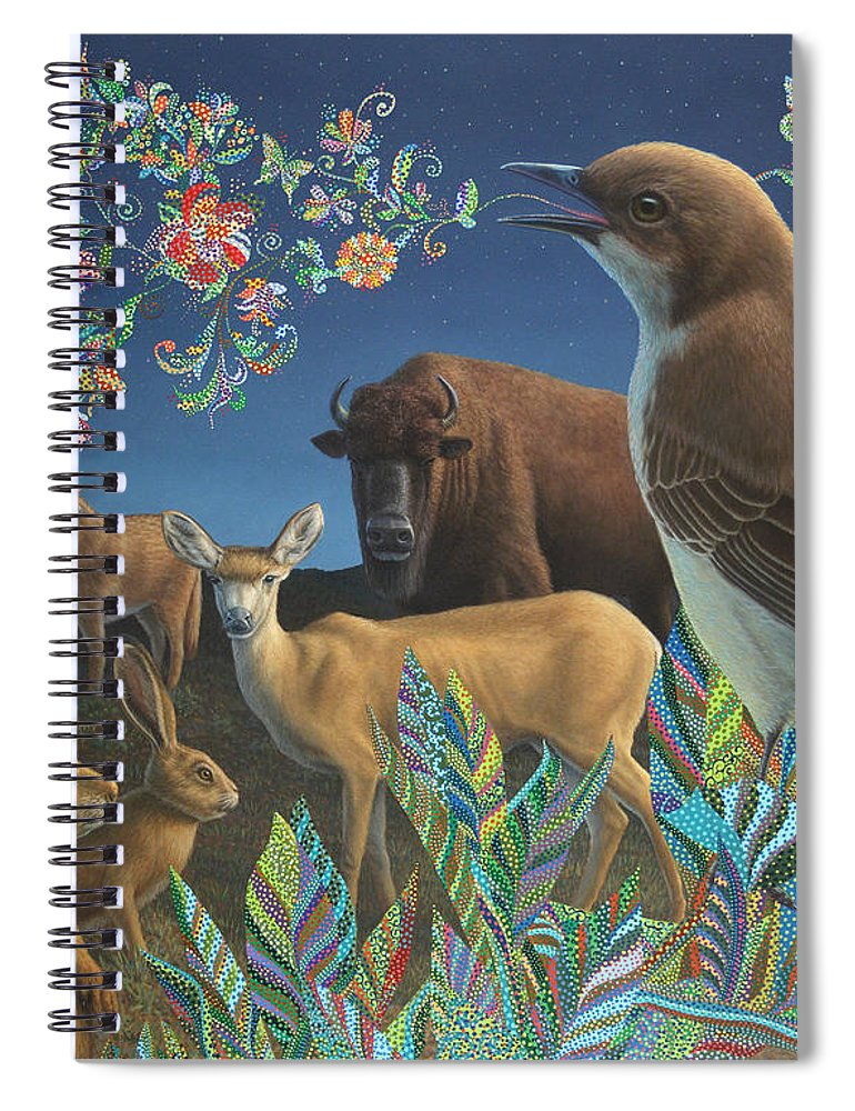 Mockingbird Spiral Notebook featuring the painting Nocturnal Cantata by James W Johnson