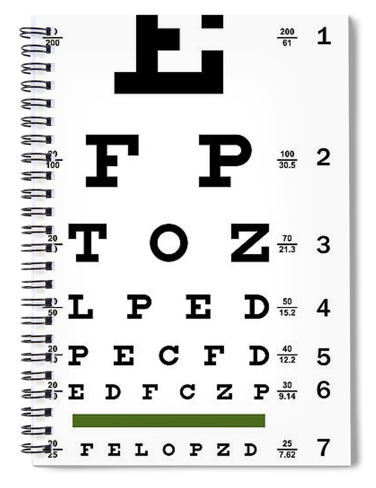 Non Traditional Eye Chart Spiral Notebook For Sale By Daniel Hagerman
