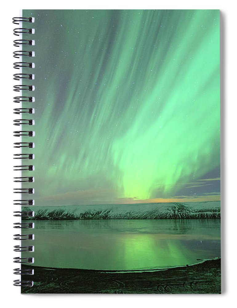 Scenics Spiral Notebook featuring the photograph Northern Lights In Iceland by By Chakarin Wattanamongkol