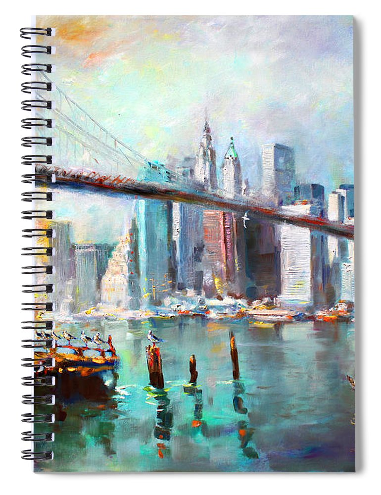 Nyc Spiral Notebook featuring the painting Ny City Brooklyn Bridge II by Ylli Haruni