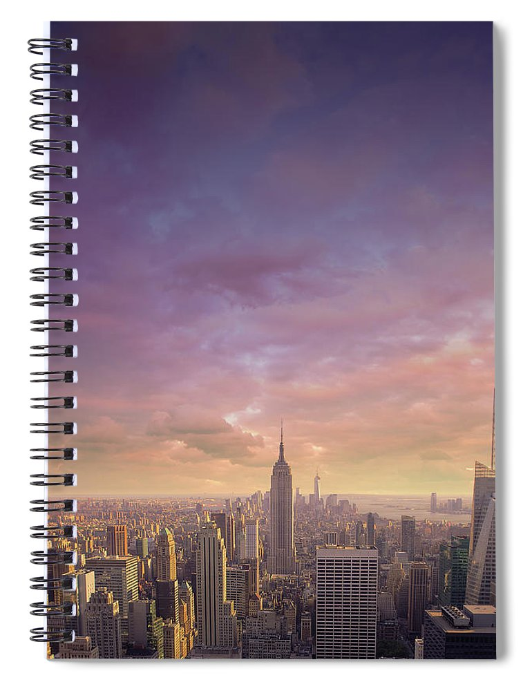 Lower Manhattan Spiral Notebook featuring the photograph Nyc At Sunset by Bluberries
