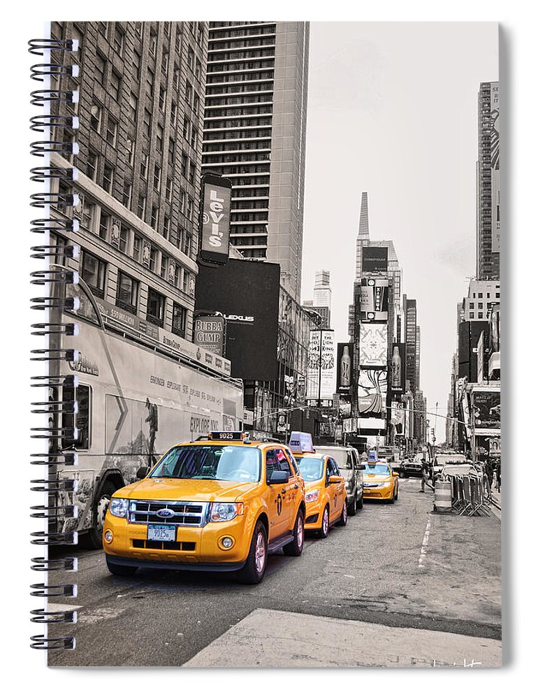 Wright Spiral Notebook featuring the photograph Nyc Yellow Cabs by Paulette B Wright