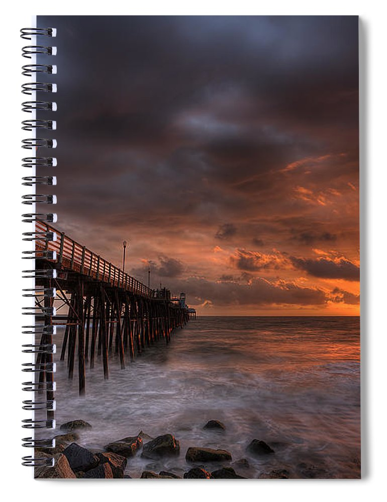 Sunset Spiral Notebook featuring the photograph Oceanside Pier Perfect Sunset by Peter Tellone