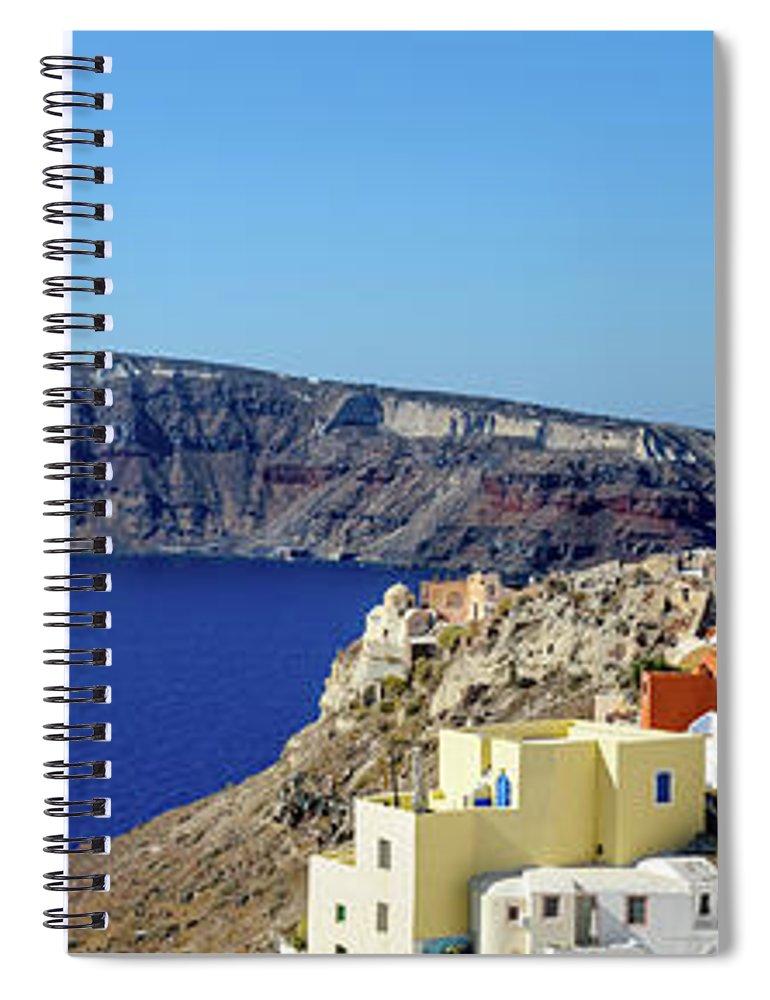 Scenics Spiral Notebook featuring the photograph Oia Panoramic, Santorini, Greece by Chrishepburn