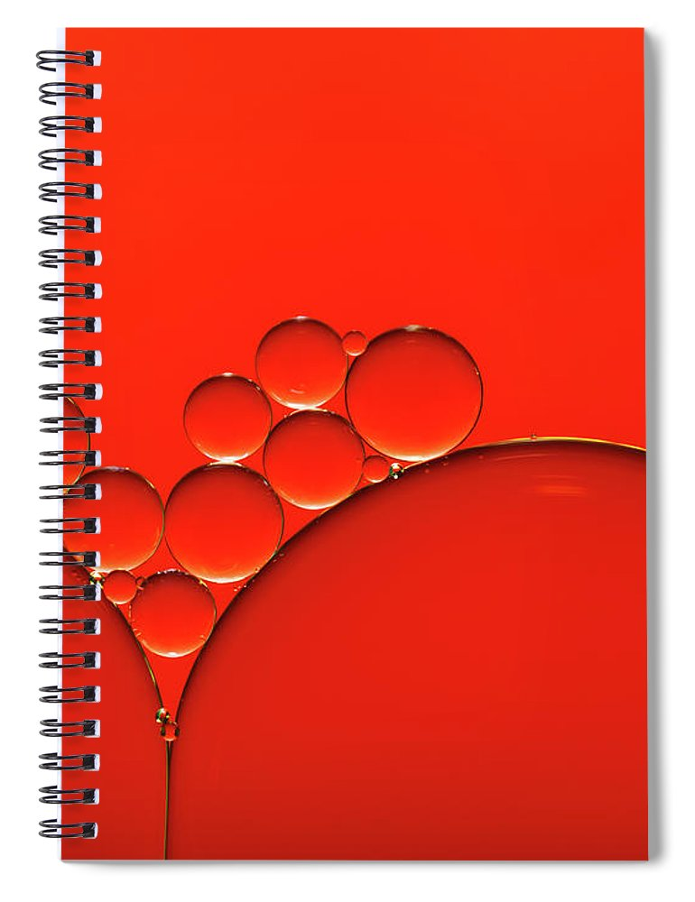 Research Spiral Notebook featuring the photograph Oil And Water Drops Background by Assalve