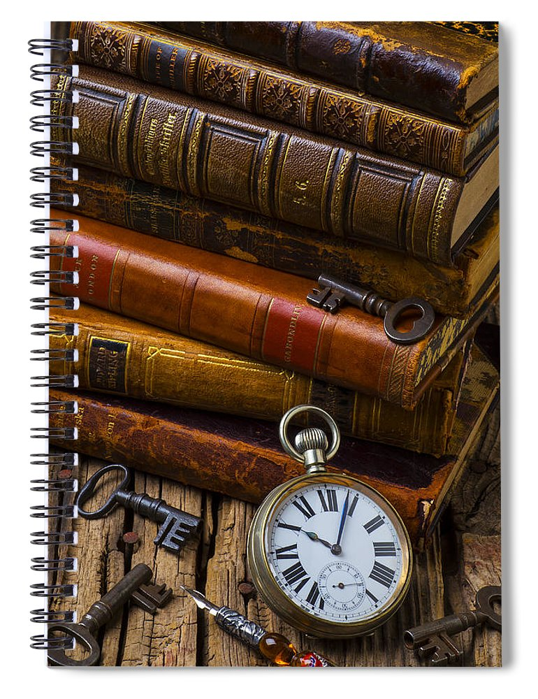 Key Spiral Notebook featuring the photograph Old Books And Pocketwatch by Garry Gay