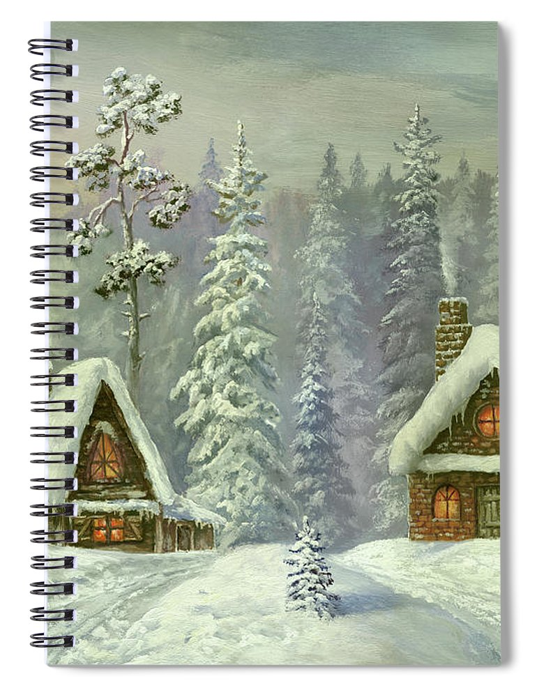 Art Spiral Notebook featuring the digital art Old Christmas Card by Pobytov