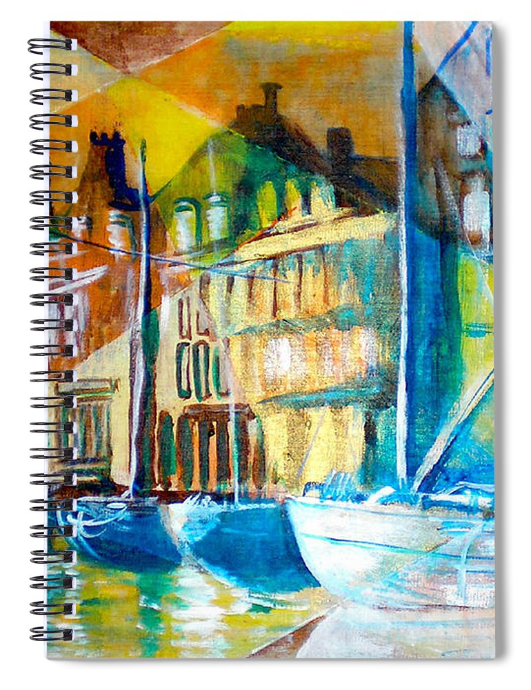 Old World Street Spiral Notebook featuring the painting Old Copenhagen thru Stained Glass by Seth Weaver