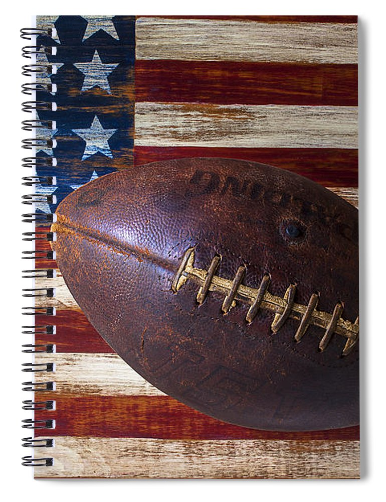 Football Spiral Notebook featuring the photograph Old Football On American Flag by Garry Gay