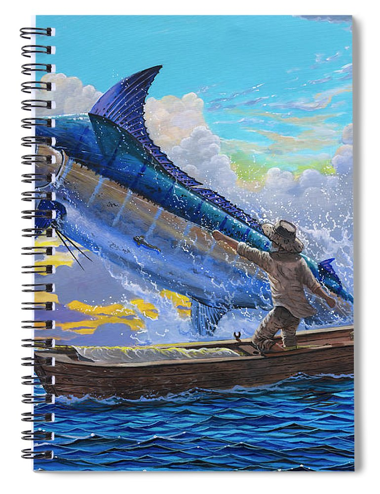 Marlin Spiral Notebook featuring the painting Old Man And The Sea Off00133 by Carey Chen