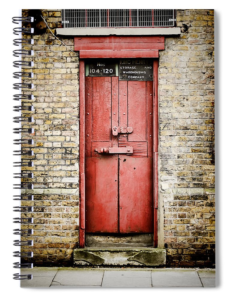 Door Spiral Notebook Featuring The Photograph Old Red Door By Heather  Applegate