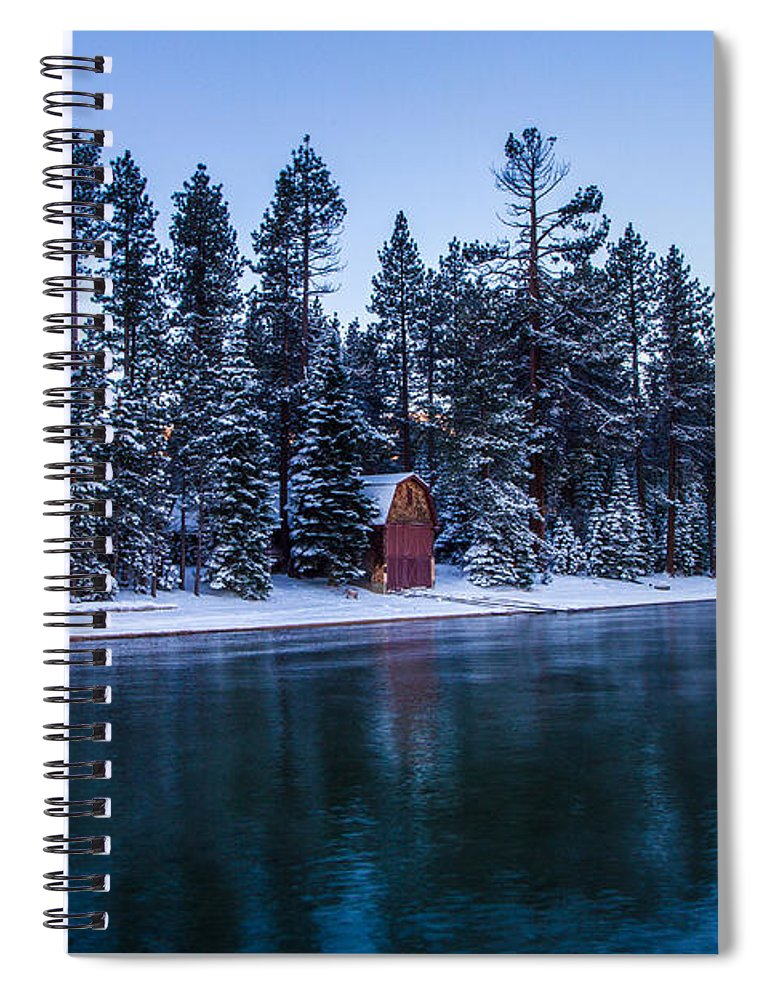 Old Tahoe Boat Houses Spiral Notebook featuring the photograph Old Tahoe Boathouses by Mitch Shindelbower