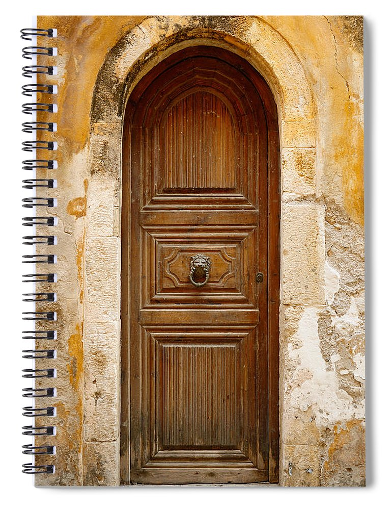 Handle Spiral Notebook featuring the photograph Old Wooden Door In City Of Rethymno by Windujedi