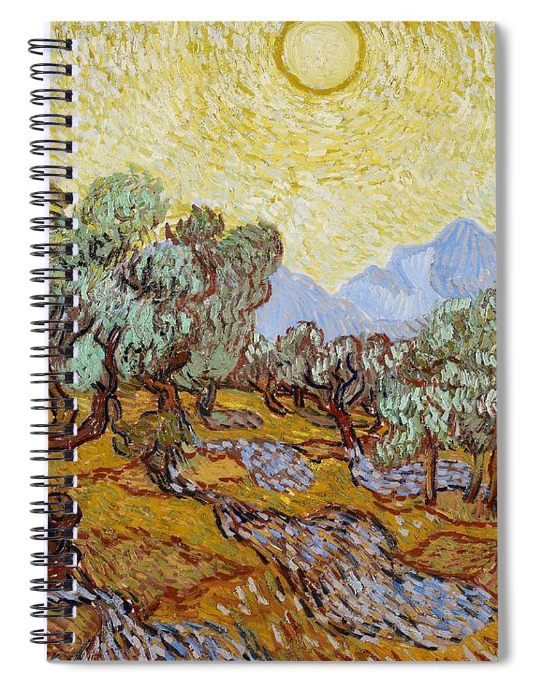 Van Spiral Notebook featuring the painting Olive Trees by Vincent Van Gogh