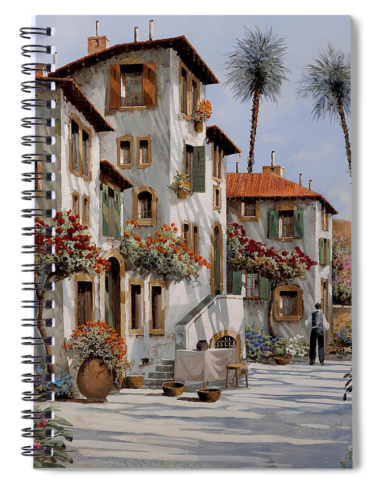 Italy Spiral Notebook featuring the painting Ombre Al Pomeriggio by Guido Borelli