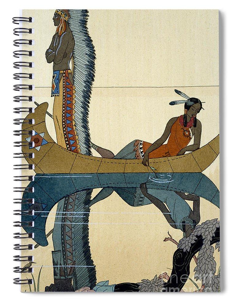 Le Long Du Missouri Spiral Notebook featuring the painting On the Missouri by Georges Barbier