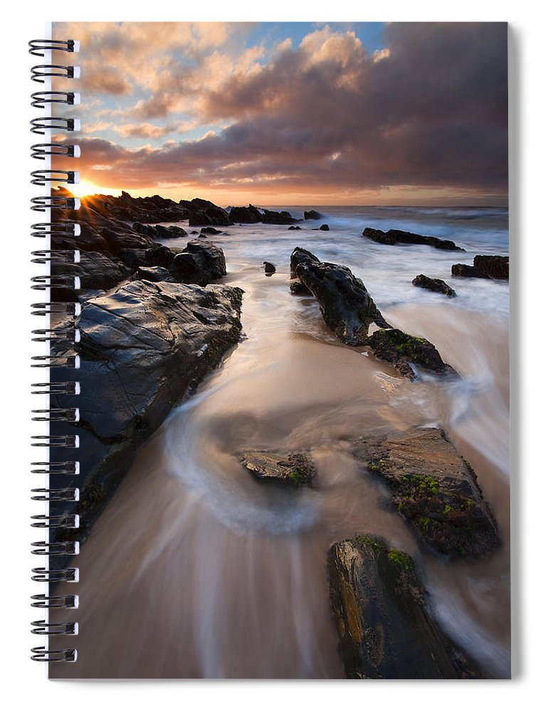Basham Beach Spiral Notebook featuring the photograph On The Rocks by Mike Dawson